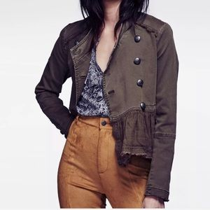 Free People | Green Ruffle Hem Military Jacket Sm